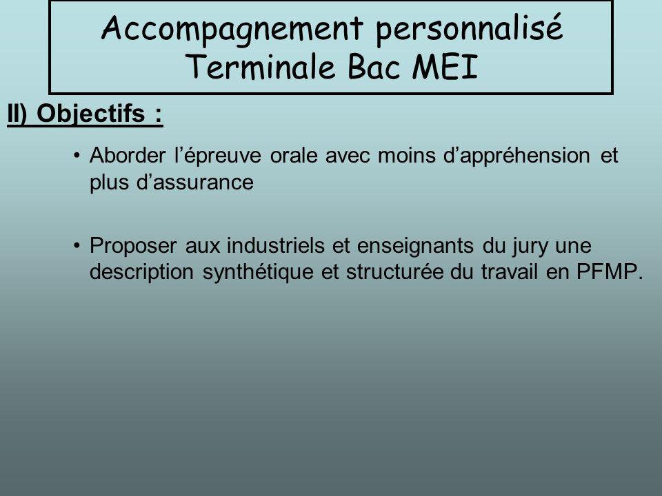 II) Objectifs : Aborder lépreuve orale avec moins dappréhension et plus dassurance Proposer aux industriels et enseignants du jury une description syn