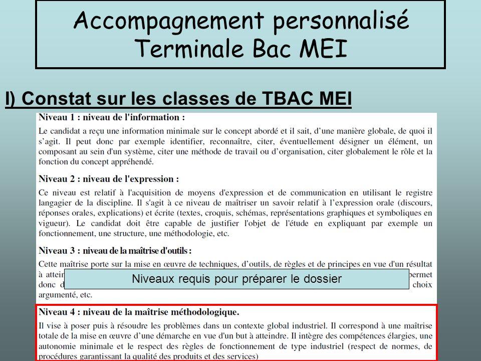 I) Constat sur les classes de TBAC MEI Niveaux requis pour préparer le dossier Accompagnement personnalisé Terminale Bac MEI