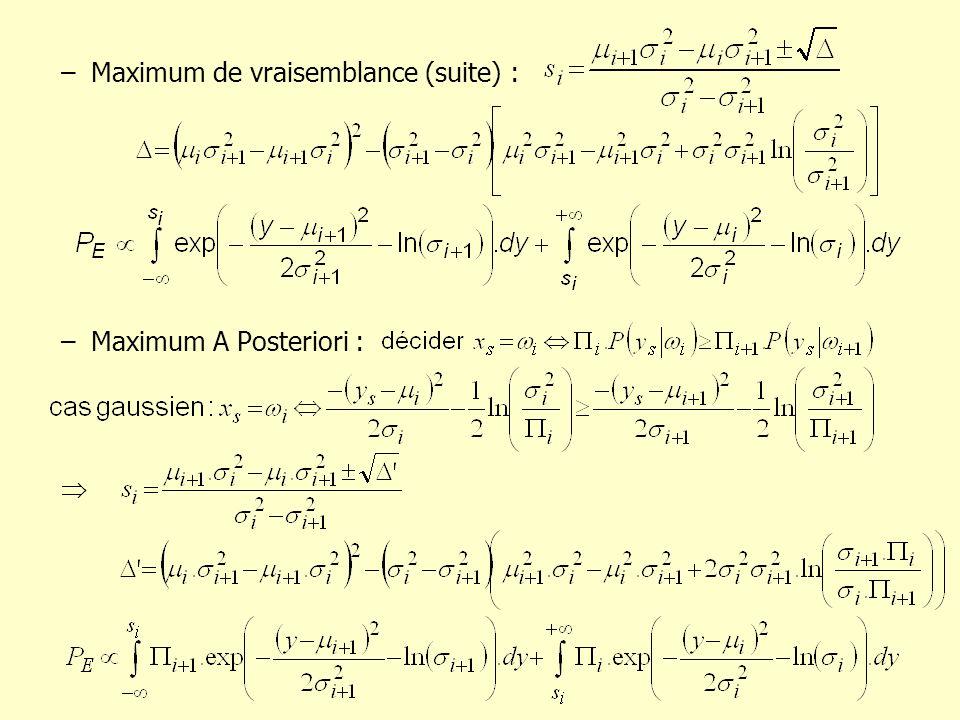 –Maximum de vraisemblance (suite) : –Maximum A Posteriori :