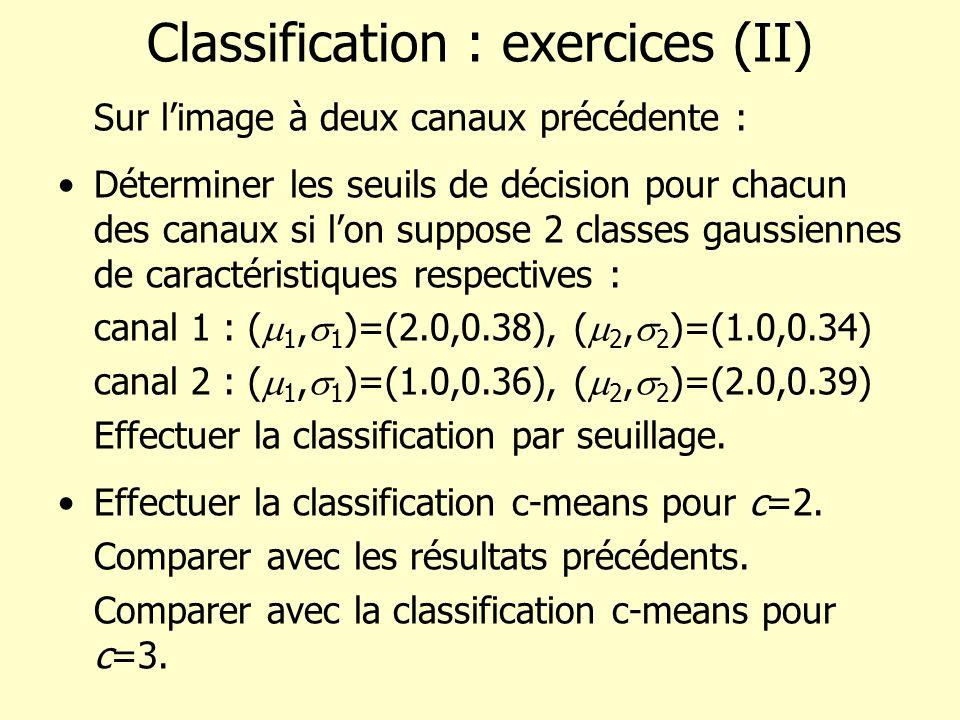Classification : exercices (II) Sur limage à deux canaux précédente : Déterminer les seuils de décision pour chacun des canaux si lon suppose 2 classe