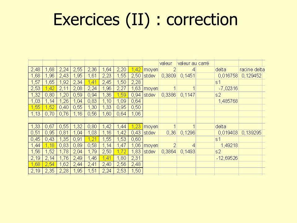 Exercices (II) : correction
