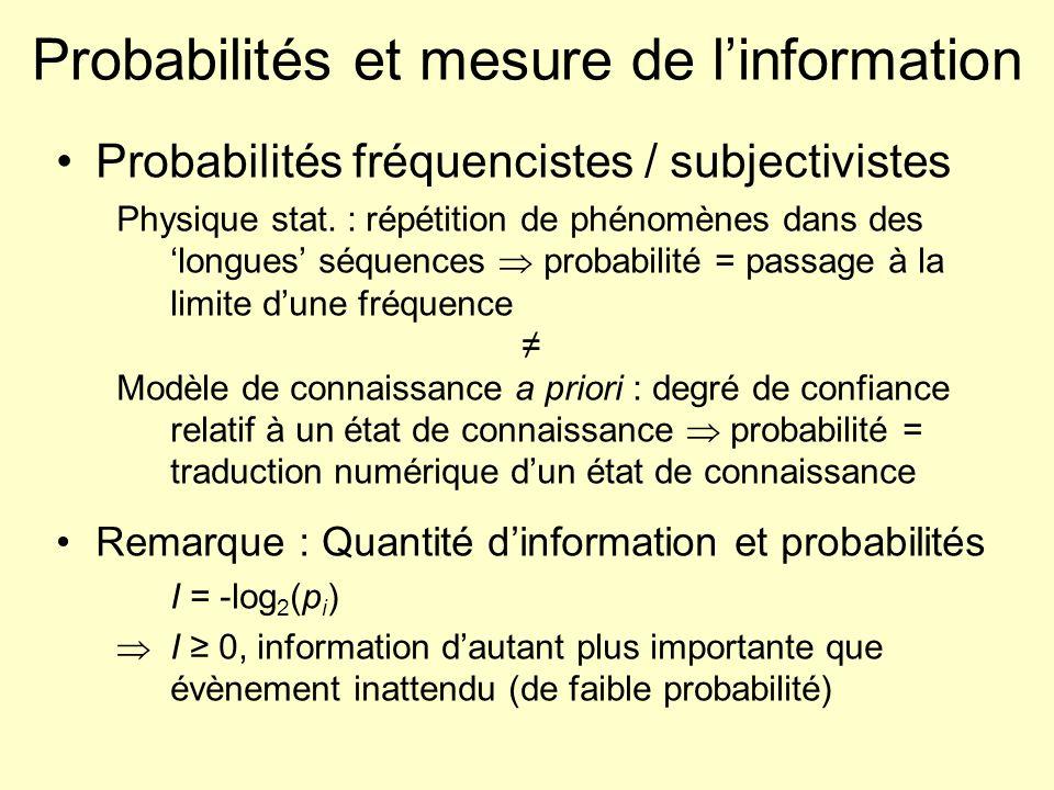 Probabilités et mesure de linformation Probabilités fréquencistes / subjectivistes Physique stat. : répétition de phénomènes dans des longues séquence