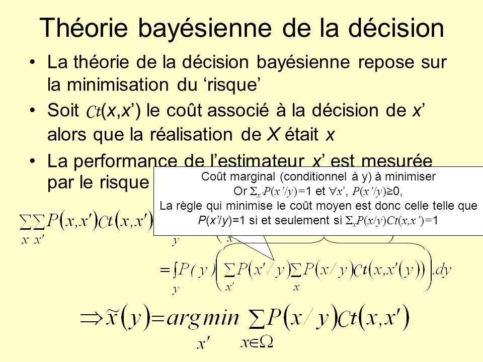 Théorie bayésienne de la décision La théorie de la décision bayésienne repose sur la minimisation du risque Soit Ct (x,x) le coût associé à la décisio