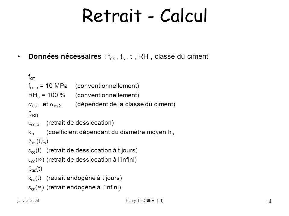 janvier 2008Henry THONIER (T1) 14 Retrait - Calcul Données nécessaires : f ck, t s, t, RH, classe du ciment f cm f cmo = 10 MPa(conventionnellement) R