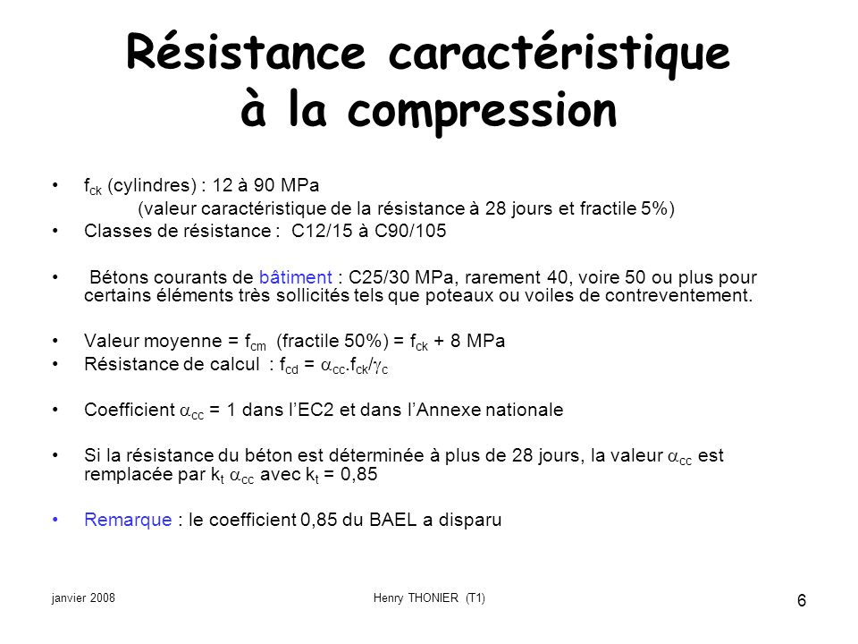 janvier 2008Henry THONIER (T1) 6 Résistance caractéristique à la compression f ck (cylindres) : 12 à 90 MPa (valeur caractéristique de la résistance à