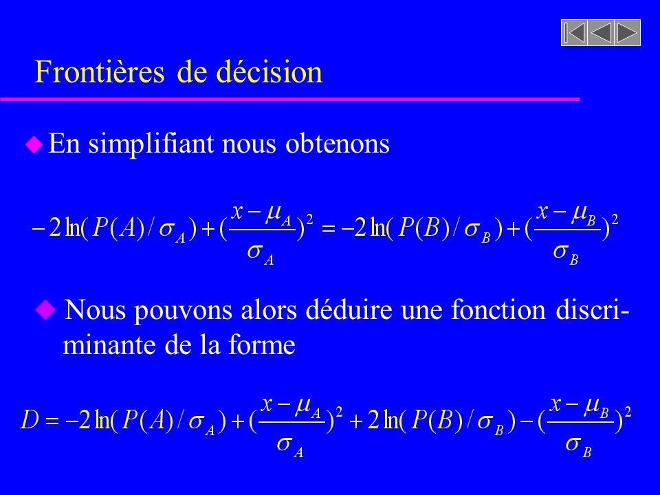 Frontières de décision u En simplifiant nous obtenons u Nous pouvons alors déduire une fonction discri- minante de la forme