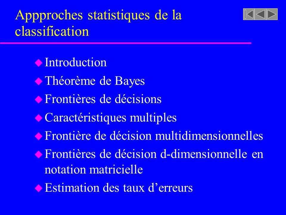 Appproches statistiques de la classification u Introduction u Théorème de Bayes u Frontières de décisions u Caractéristiques multiples u Frontière de décision multidimensionnelles u Frontières de décision d-dimensionnelle en notation matricielle u Estimation des taux derreurs