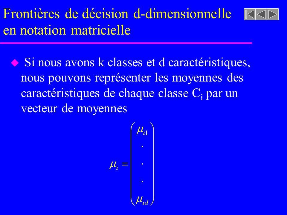 Frontières de décision d-dimensionnelle en notation matricielle u Si nous avons k classes et d caractéristiques, nous pouvons représenter les moyennes des caractéristiques de chaque classe C i par un vecteur de moyennes