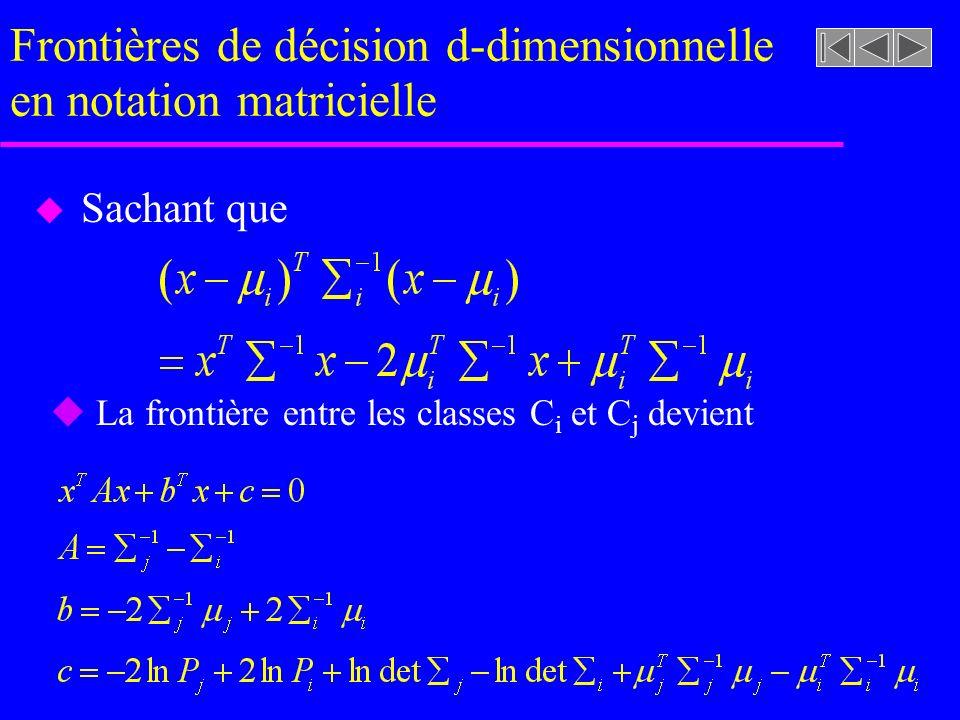 Frontières de décision d-dimensionnelle en notation matricielle u Sachant que u La frontière entre les classes C i et C j devient