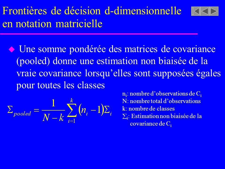 Frontières de décision d-dimensionnelle en notation matricielle u Une somme pondérée des matrices de covariance (pooled) donne une estimation non biaisée de la vraie covariance lorsquelles sont supposées égales pour toutes les classes n i : nombre dobservations de C i N: nombre total dobservations k: nombre de classes i : Estimation non biaisée de la covariance de C i