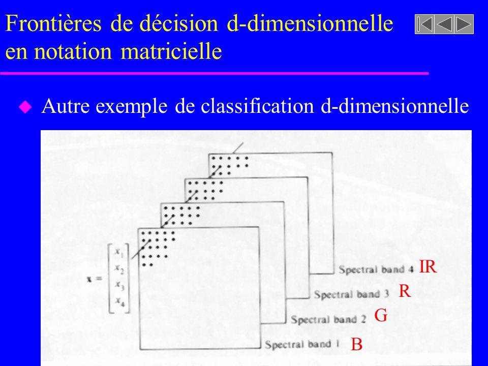 Frontières de décision d-dimensionnelle en notation matricielle u Autre exemple de classification d-dimensionnelle IR R G B