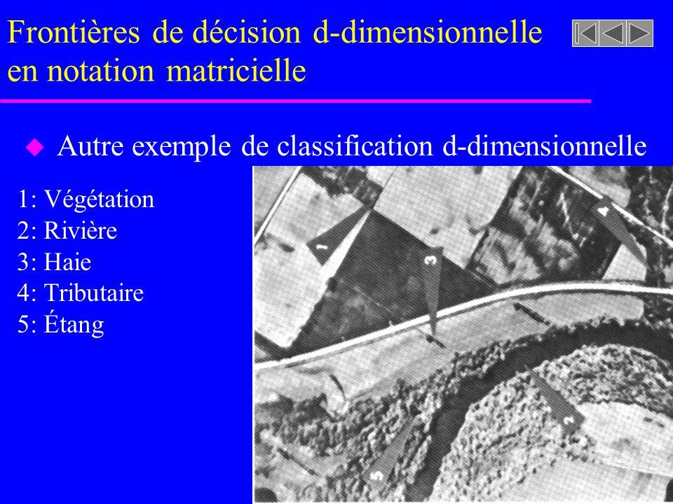Frontières de décision d-dimensionnelle en notation matricielle u Autre exemple de classification d-dimensionnelle 1: Végétation 2: Rivière 3: Haie 4: Tributaire 5: Étang