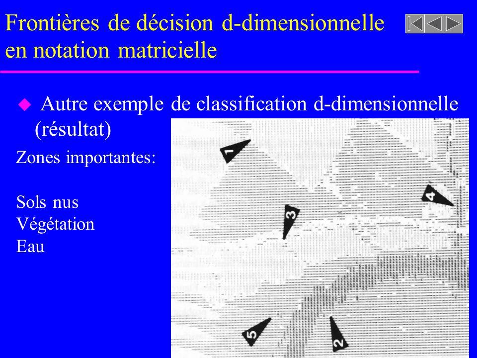Frontières de décision d-dimensionnelle en notation matricielle u Autre exemple de classification d-dimensionnelle (résultat) Zones importantes: Sols nus Végétation Eau
