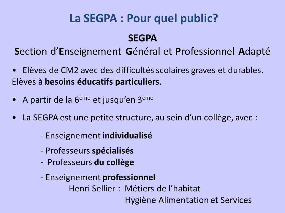 La SEGPA : Pour quel public? SEGPA Section dEnseignement Général et Professionnel Adapté Elèves de CM2 avec des difficultés scolaires graves et durabl
