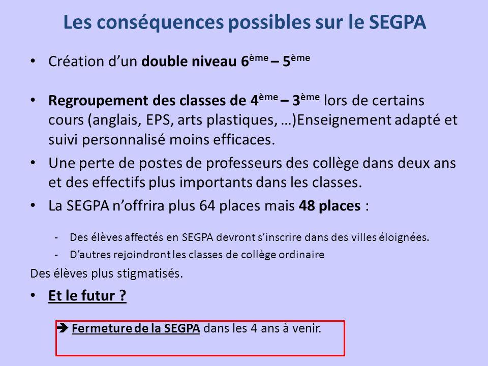 Les conséquences possibles sur le SEGPA Création dun double niveau 6 ème – 5 ème Regroupement des classes de 4 ème – 3 ème lors de certains cours (ang