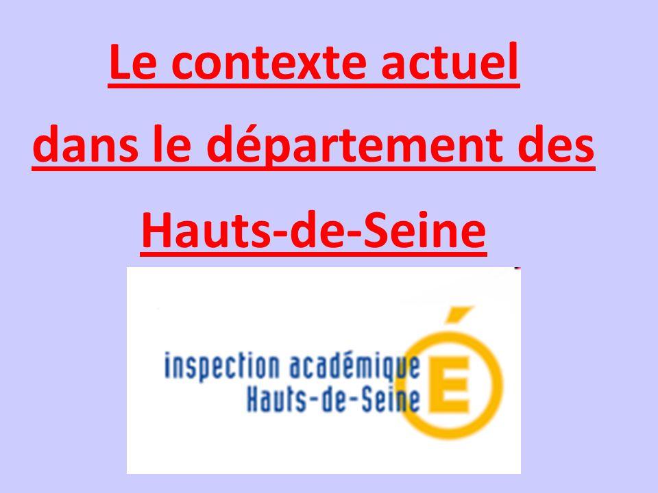 Le contexte actuel dans le département des Hauts-de-Seine