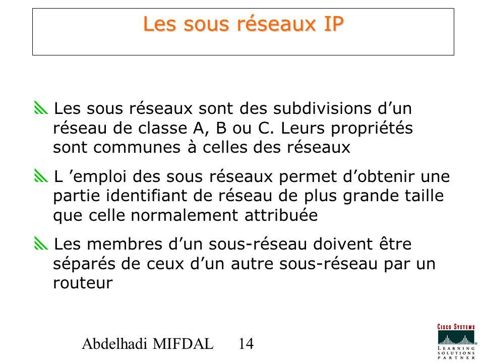 14 Abdelhadi MIFDAL Les sous réseaux IP Les sous réseaux sont des subdivisions dun réseau de classe A, B ou C. Leurs propriétés sont communes à celles