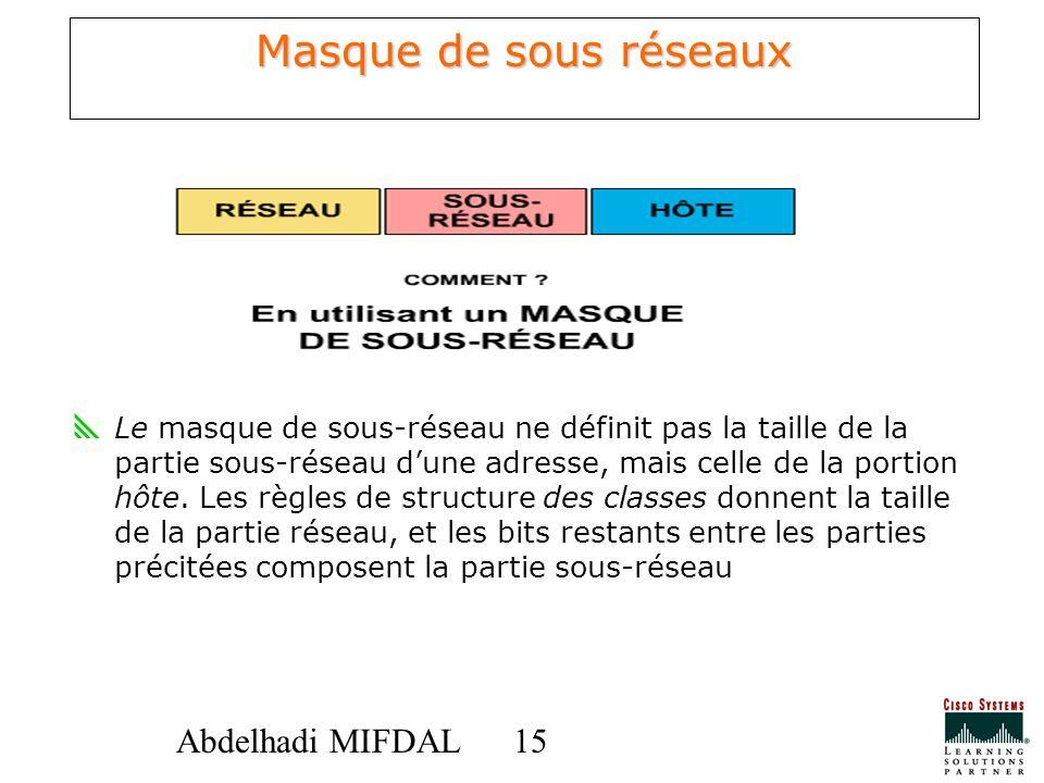 15 Abdelhadi MIFDAL Masque de sous réseaux Le masque de sous-réseau ne définit pas la taille de la partie sous-réseau dune adresse, mais celle de la p