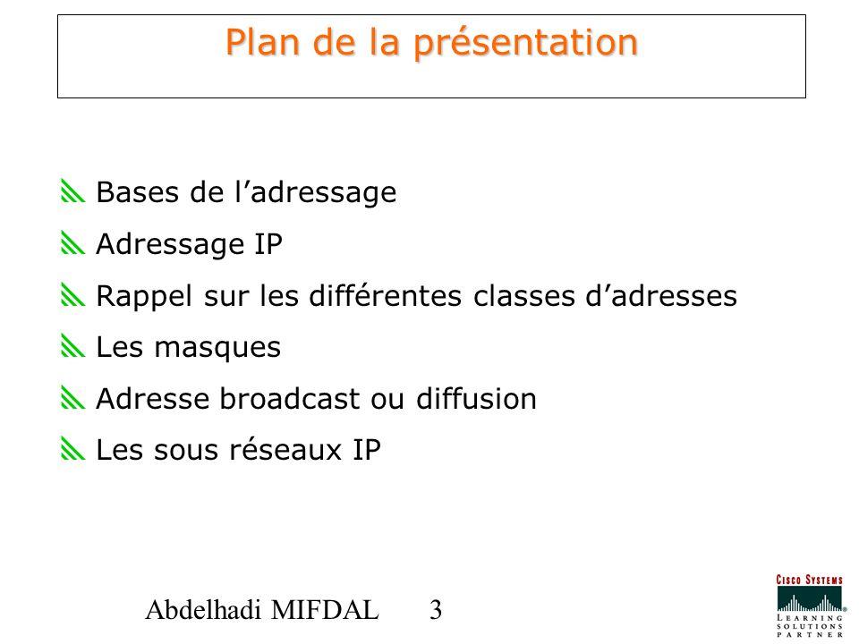 33Abdelhadi MIFDAL Plan de la présentation Bases de ladressage Adressage IP Rappel sur les différentes classes dadresses Les masques Adresse broadcast