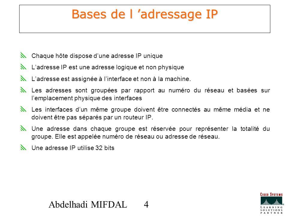 44Abdelhadi MIFDAL Bases de l adressage IP Chaque hôte dispose dune adresse IP unique Ladresse IP est une adresse logique et non physique Ladresse est