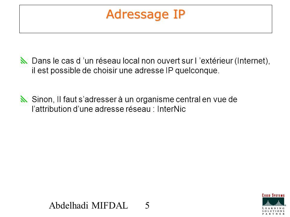 55Abdelhadi MIFDAL Adressage IP Dans le cas d un réseau local non ouvert sur l extérieur (Internet), il est possible de choisir une adresse IP quelcon