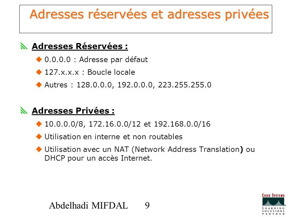 99Abdelhadi MIFDAL Adresses réservées et adresses privées Adresses Réservées : 0.0.0.0 : Adresse par défaut 127.x.x.x : Boucle locale Autres : 128.0.0