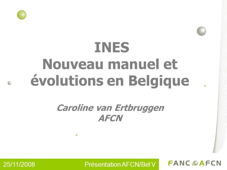 25/11/2008 Présentation AFCN/Bel V INES Nouveau manuel et évolutions en Belgique Caroline van Ertbruggen AFCN