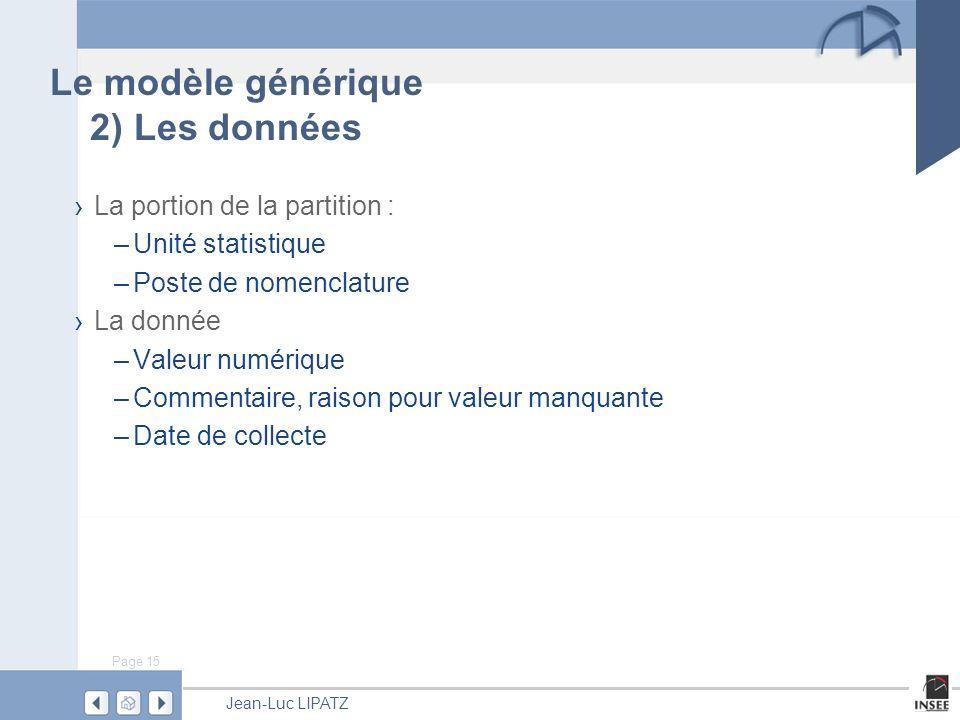 Page 15 Jean-Luc LIPATZ Le modèle générique 2) Les données La portion de la partition : –Unité statistique –Poste de nomenclature La donnée –Valeur numérique –Commentaire, raison pour valeur manquante –Date de collecte