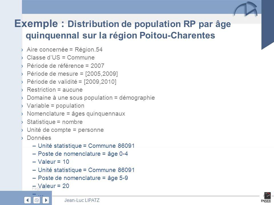 Page 16 Jean-Luc LIPATZ Exemple : Distribution de population RP par âge quinquennal sur la région Poitou-Charentes Aire concernée = Région.54 Classe dUS = Commune Période de référence = 2007 Période de mesure = [2005,2009] Période de validité = [2009,2010] Restriction = aucune Domaine à une sous population = démographie Variable = population Nomenclature = âges quinquennaux Statistique = nombre Unité de compte = personne Données –Unité statistique = Commune 86091 –Poste de nomenclature = âge 0-4 –Valeur = 10 –Unité statistique = Commune 86091 –Poste de nomenclature = âge 5-9 –Valeur = 20 –…–…