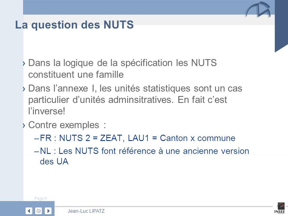 Page 9 Jean-Luc LIPATZ La question des NUTS Dans la logique de la spécification les NUTS constituent une famille Dans lannexe I, les unités statistiques sont un cas particulier dunités adminsitratives.