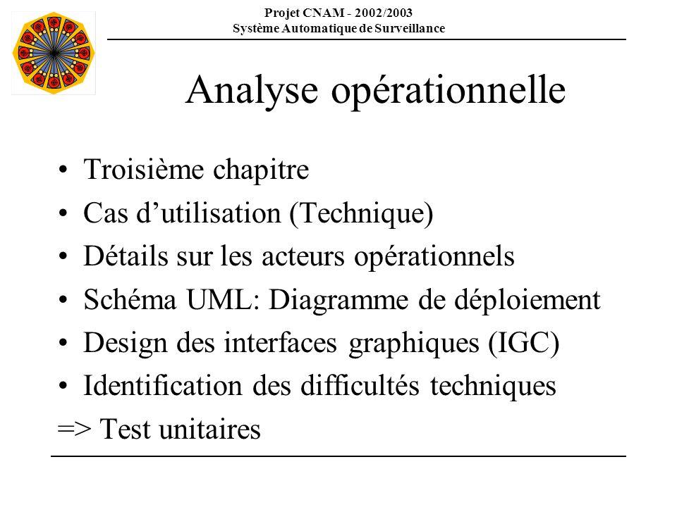 Projet CNAM - 2002/2003 Système Automatique de Surveillance Analyse opérationnelle Troisième chapitre Cas dutilisation (Technique) Détails sur les act