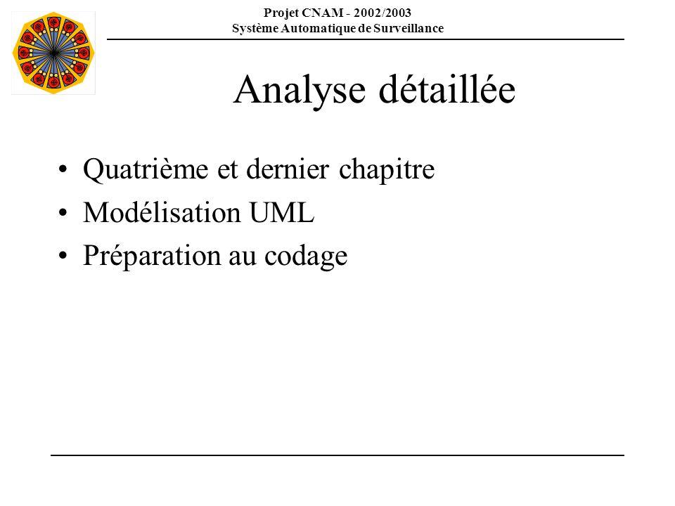 Projet CNAM - 2002/2003 Système Automatique de Surveillance Modélisation UML Généralisation des acteurs Utilisation de schéma Use Case pour définir la hiérarchie des acteurs => abstraction, API SAS Regroupement des use case Identification des packages => packages