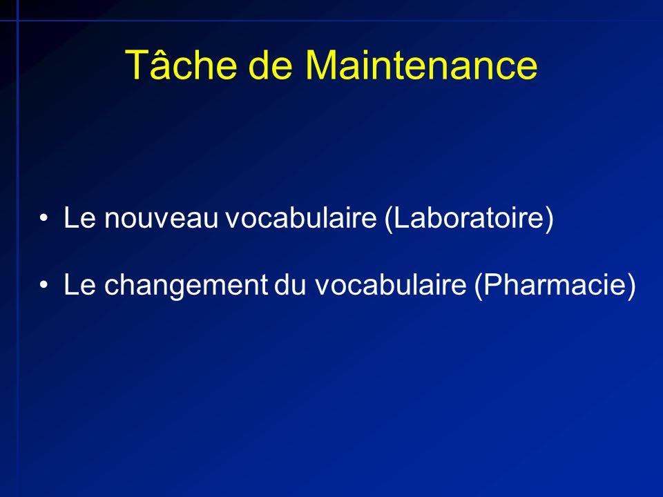Tâche de Maintenance Le nouveau vocabulaire (Laboratoire) Le changement du vocabulaire (Pharmacie)