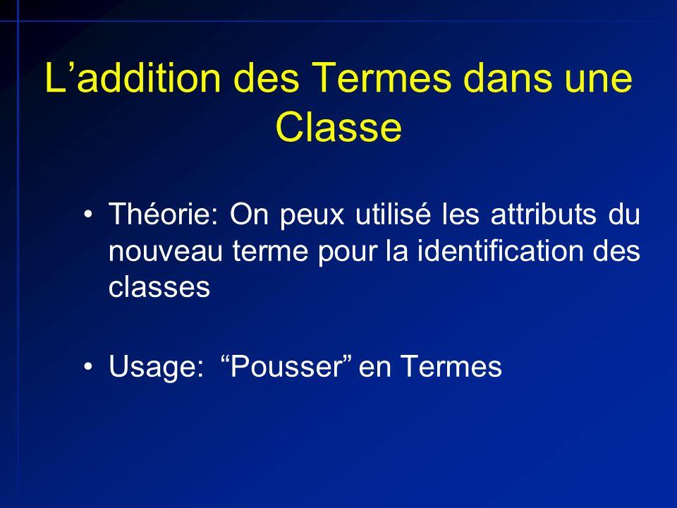 Laddition des Termes dans une Classe Théorie: On peux utilisé les attributs du nouveau terme pour la identification des classes Usage: Pousser en Term