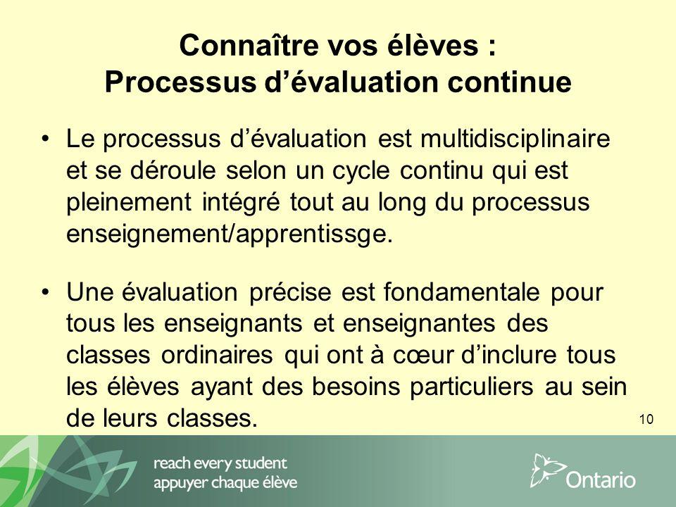 10 Connaître vos élèves : Processus dévaluation continue Le processus dévaluation est multidisciplinaire et se déroule selon un cycle continu qui est pleinement intégré tout au long du processus enseignement/apprentissge.