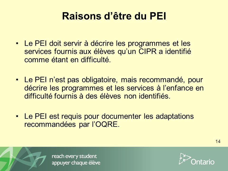 14 Raisons dêtre du PEI Le PEI doit servir à décrire les programmes et les services fournis aux élèves quun CIPR a identifié comme étant en difficulté.
