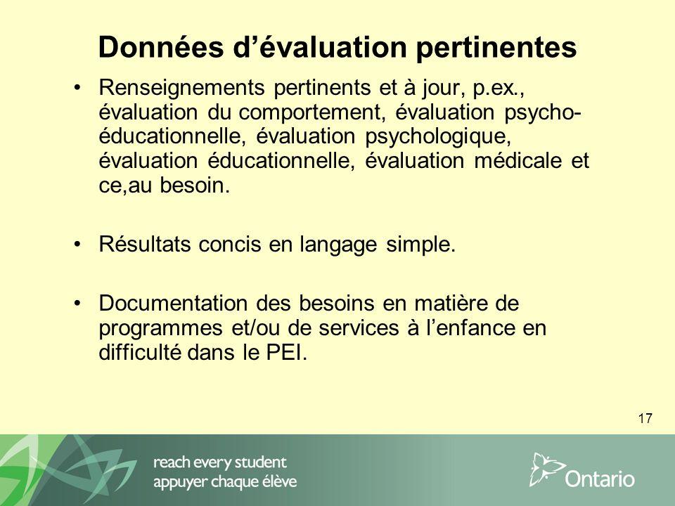 17 Données dévaluation pertinentes Renseignements pertinents et à jour, p.ex., évaluation du comportement, évaluation psycho- éducationnelle, évaluation psychologique, évaluation éducationnelle, évaluation médicale et ce,au besoin.