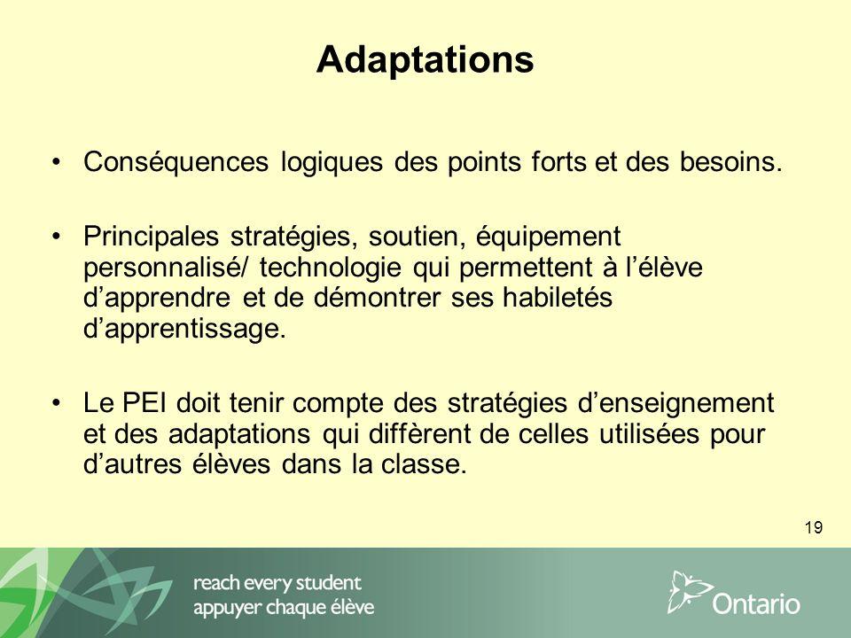 19 Adaptations Conséquences logiques des points forts et des besoins.