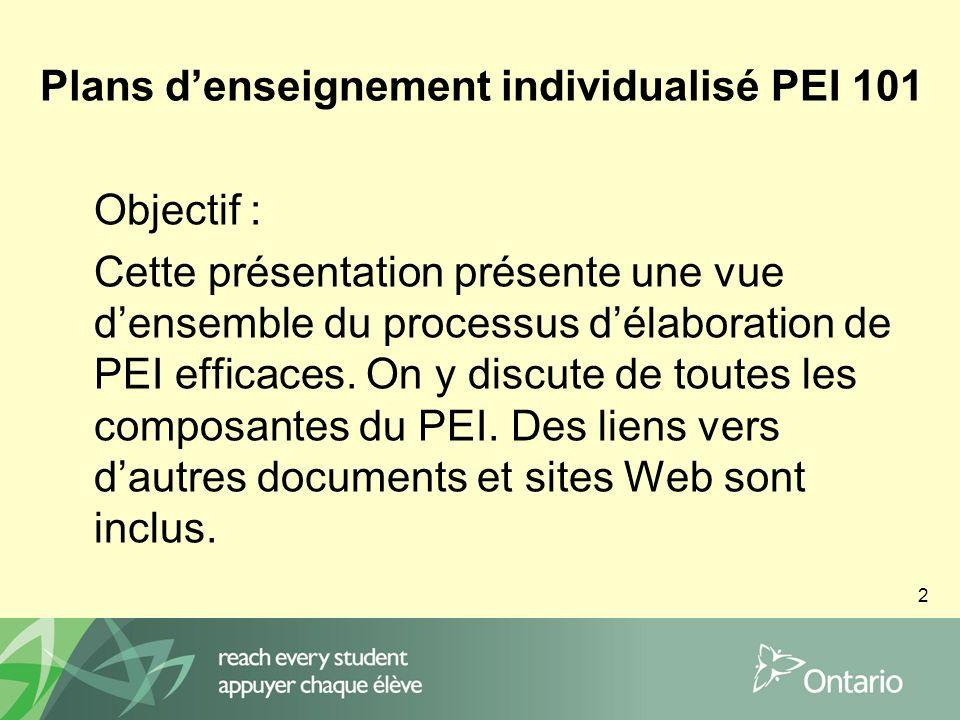 2 Plans denseignement individualisé PEI 101 Objectif : Cette présentation présente une vue densemble du processus délaboration de PEI efficaces.