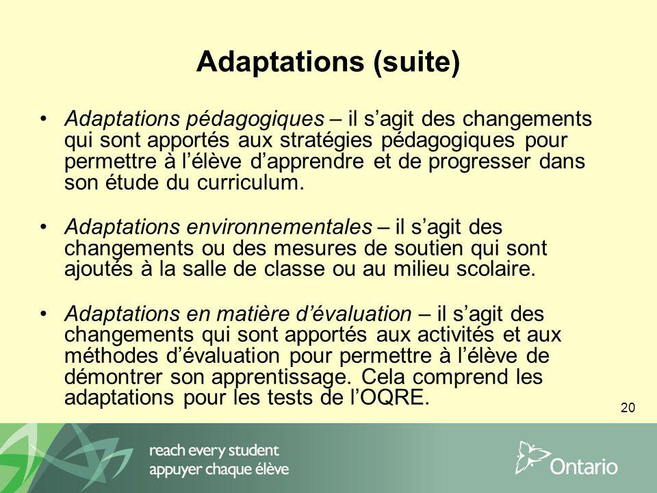 20 Adaptations (suite) Adaptations pédagogiques – il sagit des changements qui sont apportés aux stratégies pédagogiques pour permettre à lélève dapprendre et de progresser dans son étude du curriculum.