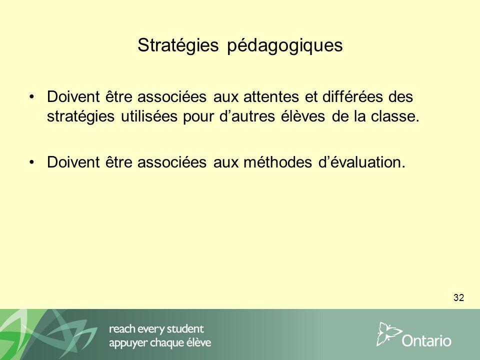 32 Stratégies pédagogiques Doivent être associées aux attentes et différées des stratégies utilisées pour dautres élèves de la classe.
