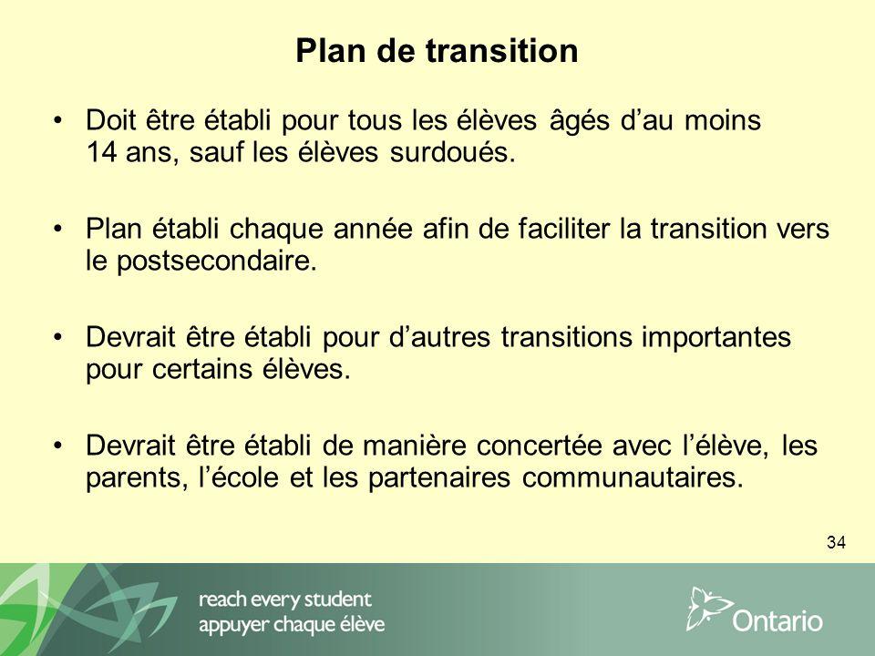 34 Plan de transition Doit être établi pour tous les élèves âgés dau moins 14 ans, sauf les élèves surdoués.