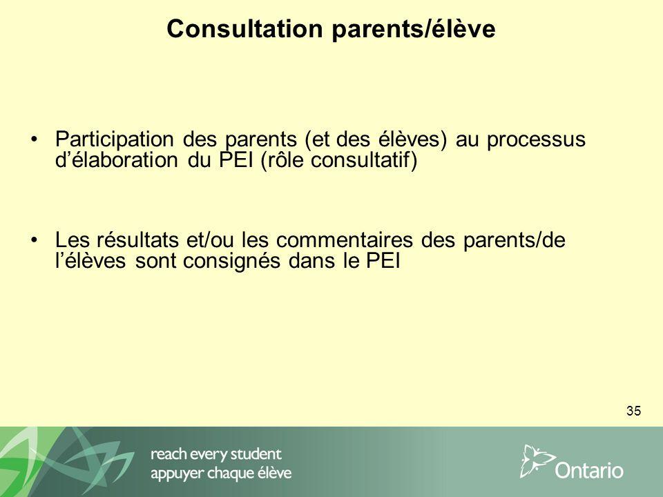35 Consultation parents/élève Participation des parents (et des élèves) au processus délaboration du PEI (rôle consultatif) Les résultats et/ou les commentaires des parents/de lélèves sont consignés dans le PEI