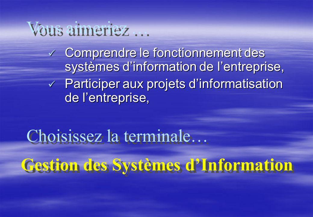Comprendre le fonctionnement des systèmes dinformation de lentreprise, Comprendre le fonctionnement des systèmes dinformation de lentreprise, Participer aux projets dinformatisation de lentreprise, Participer aux projets dinformatisation de lentreprise, Vous aimeriez … Choisissez la terminale… Gestion des Systèmes dInformation Gestion des Systèmes dInformation