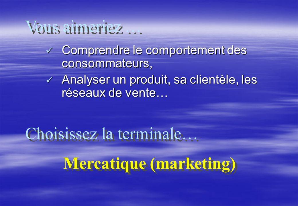 Comprendre le comportement des consommateurs, Comprendre le comportement des consommateurs, Analyser un produit, sa clientèle, les réseaux de vente… Analyser un produit, sa clientèle, les réseaux de vente… Vous aimeriez … Choisissez la terminale… Mercatique (marketing) Mercatique (marketing)