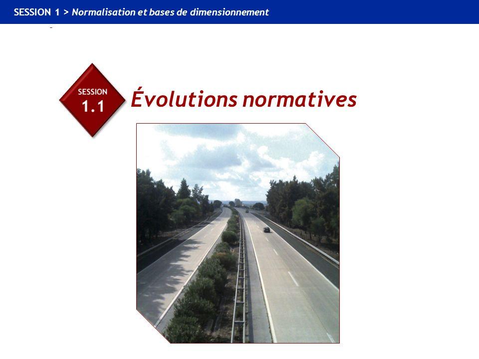 1.1 Évolutions normatives SESSION 1 > Normalisation et bases de dimensionnement Évolutions normatives