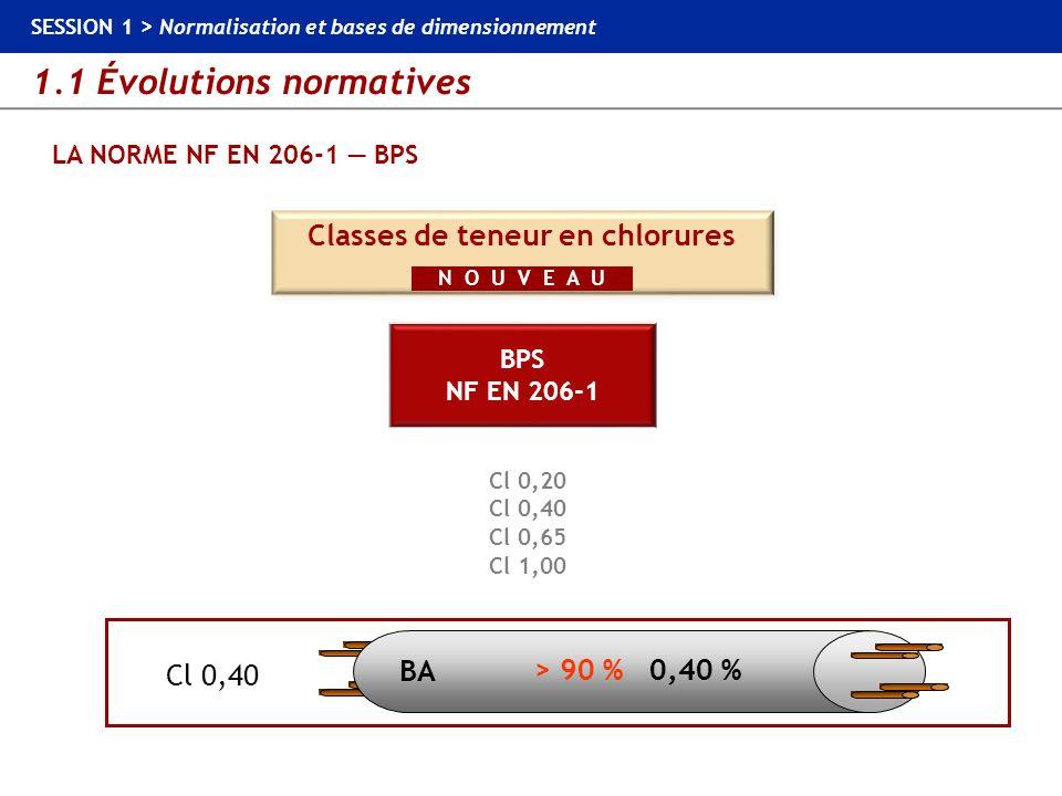 1.1 Évolutions normatives SESSION 1 > Normalisation et bases de dimensionnement LA NORME NF EN 206-1 BPS Cl 0,20 Cl 0,40 Cl 0,65 Cl 1,00 Cl 0,20 Cl 0,