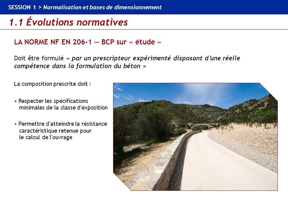 1.1 Évolutions normatives SESSION 1 > Normalisation et bases de dimensionnement LA NORME NF EN 206-1 BCP sur « étude » Doit être formulé « par un pres