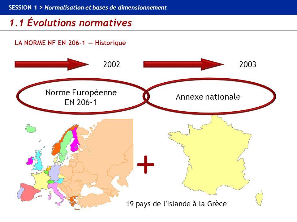 1.1 Évolutions normatives SESSION 1 > Normalisation et bases de dimensionnement LA NORME NF EN 206-1 au sein du contexte normatif STRUCTURES EN BÉTON NORMES SUR LES CONSTITUANTS CIMENTS / GRANULATS / ADJUVANTS… NORME BÉTON NF EN 206-1 NORMES DE DIMENSIONNEMENT EUROCODE 0 EUROCODE 1 EUROCODE 2 NORMES DESSAIS SUR BÉTON FRAIS NF EN 12350 BÉTON DURCI NF EN 12390 NORME Produits préfabriqués structuraux en béton et NF EN 13369 NORMES ET DOCUMENTS DEXÉCUTION Fascicule 65 Autres fascicules du CCTG puis EN 13670-1 (exécution des structures en béton) NF P 18-201 (DTU 21) Autres DTU FASCICULES DE RECOMMANDATIONS Alcali-réaction Gel / dégel