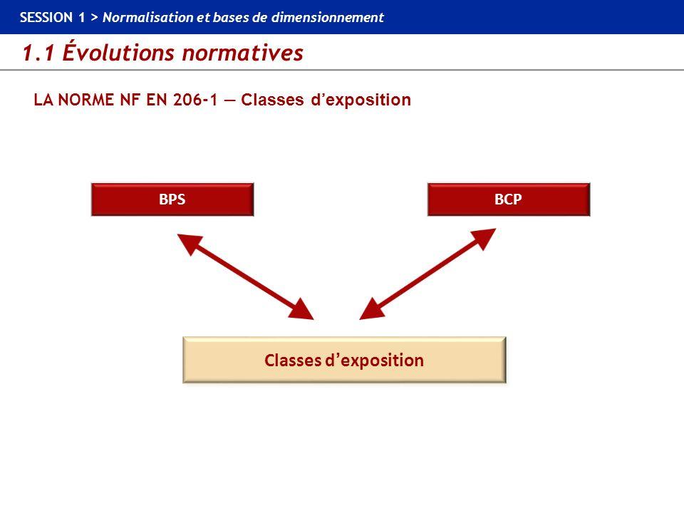 1.1 Évolutions normatives SESSION 1 > Normalisation et bases de dimensionnement LA NORME NF EN 206-1 Classes dexposition BCP BPS Classes dexposition